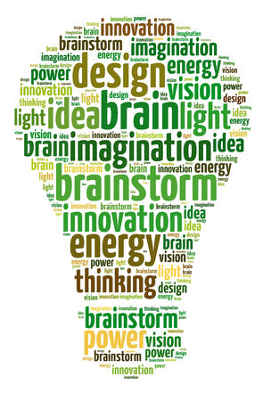 Words illustration of the concept of ideas and innovation over white