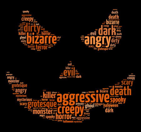 Words illustration of a scary face over black