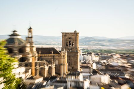 zooming: Blurred zooming in centered on the Cathedral of Granada
