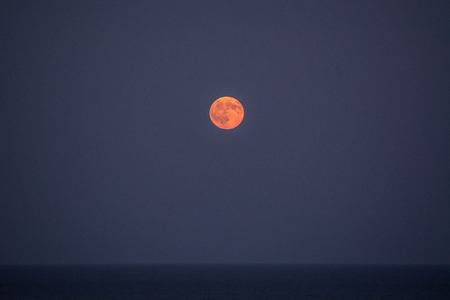 Full moon on a clear night out on the horizon over the sea