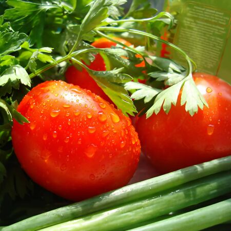 Bright, ripe, red tomatoes with drops of water on them photo