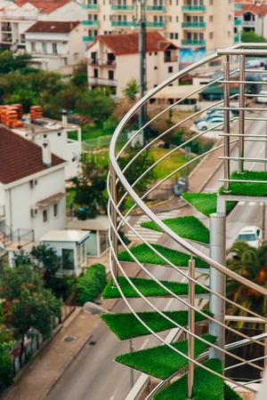 A spiral staircase in the villa in Montenegro, Budva. Stock Photo