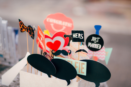 Accessories for photobooths photoshooting. Wedding in Montenegro.