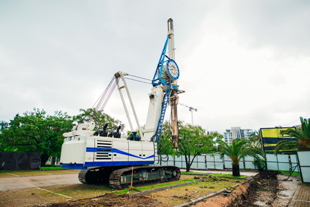 Machine for piling. Construction machinery on the site for the construction of a house.
