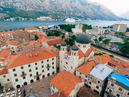 Church The Orthodox Church of St. Nicholas of Kotor, Montenegro, Kotor Bay, the Balkans, the Adriatic Sea. Stock Photo