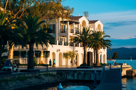 District Porto Montenegro, Elite cottages, villas by the sea, Hotels and restaurants. Elite life in Montenegro, Tivat. Immobility for the rich. Stock Photo