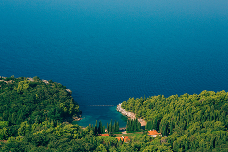 Kings Beach in Montenegro, near Sveti Stefan, in the territory of the Milocer Park. Private indoor beach. Spa in the hotel. Stock Photo - 85837133