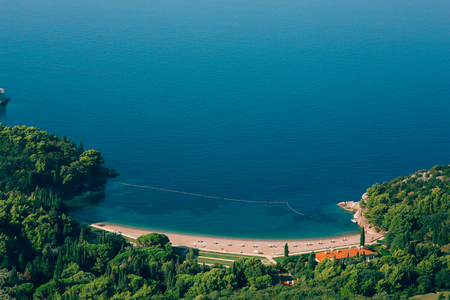 Queens Beach in the territory of the park Milocer, near the villa, in Montenegro, the Adriatic. Stock Photo