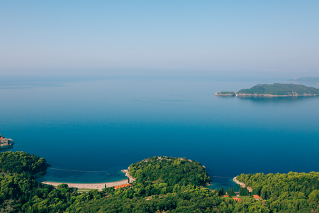 Queens Beach in the territory of the park Milocer, near the villa, in Montenegro, the Adriatic. Stock Photo