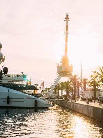 Crane on the quay in Tivat, Montenegro, Porto-Montenegro district. Stock Photo