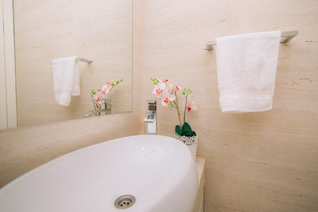 bathroom interior: Washbasin in the bathroom. Plumbing in the bathroom. The interior of the bathroom. Stock Photo