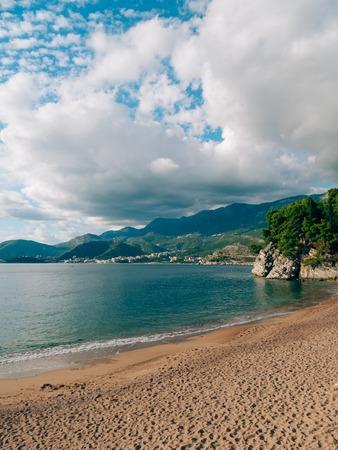 Private beach of the hotel Sveti Stefan, near the island. Montenegro, the Adriatic Sea.