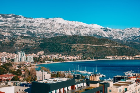 Snow-covered mountains of Budva in Montenegro, Adriatic sea