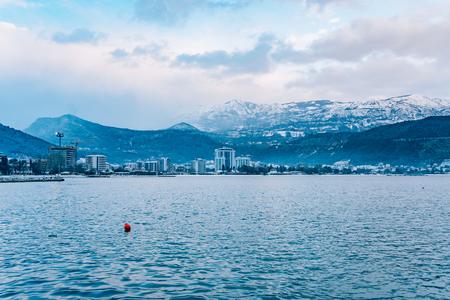 Snow-covered mountains of Budva in Montenegro, Adriatic sea