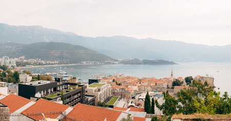 The Old Town of Budva, aerial shooting with air drone in Montenegro