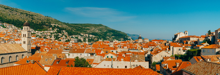 Dubrovnik Old Town, Croatia. Tiled roofs of houses. Church in the city. City View from the wall.
