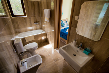 bath: Bathroom interior - washbasin, bidet, toilet large mirror