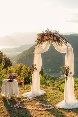 blue background: Wedding ceremony in the mountains in Montenegro
