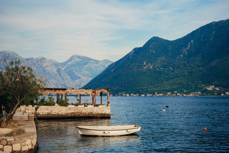 The old fishing town of Perast on the shore of Kotor Bay in Montenegro.