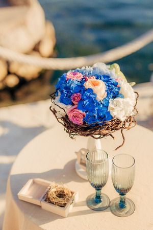 A wedding bouquet near the sea. Wedding in Montenegro.