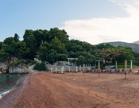 Beach near the island Sveti Stefan in Montenegro Фото со стока