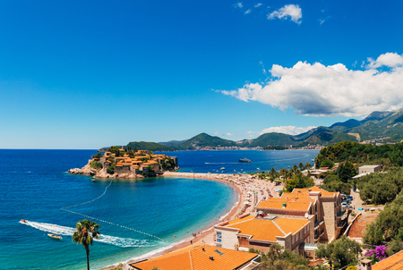 Island of Sveti Stefan in Montenegro. Panoramic shot 스톡 콘텐츠