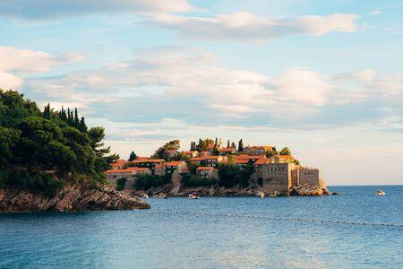 Island of Sveti Stefan in Montenegro. Panoramic shot Фото со стока