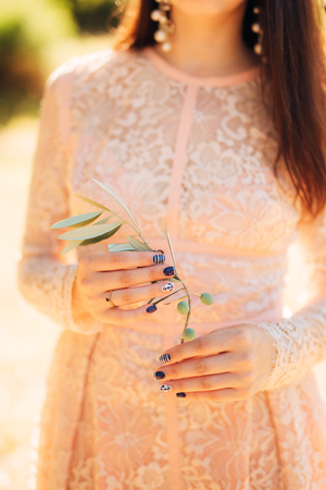 olive green: Olive branch in tender female hands. Wedding in Montenegro.