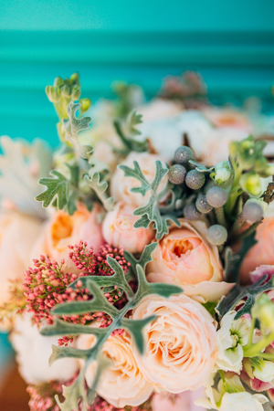 Wedding bouquet on textural background. Wedding in Montenegro Фото со стока
