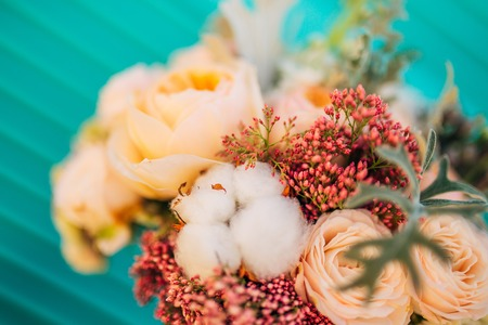 Wedding bouquet on textural background. Wedding in Montenegro Stock Photo