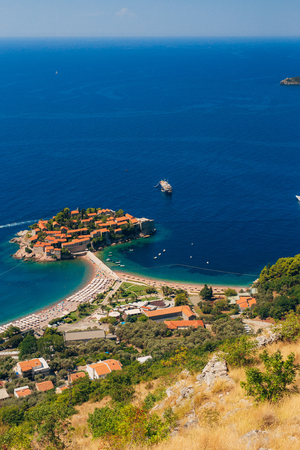 Island of Sveti Stefan in Montenegro. Panoramic shot Фото со стока