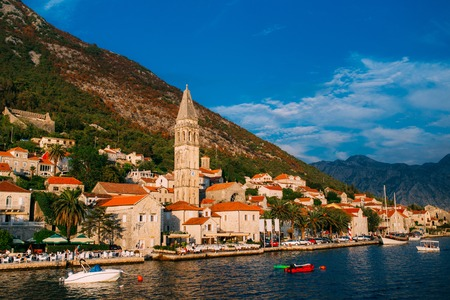 The old fishing town of Perast on the shore of Kotor Bay in Montenegro. Фото со стока - 87128618