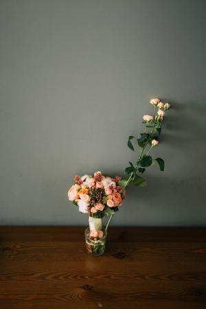 Wedding bouquet on a table. Wedding in Montenegro Фото со стока - 87578081
