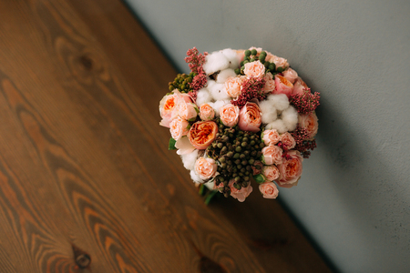 Wedding bouquet on a table. Wedding in Montenegro Фото со стока - 87474362