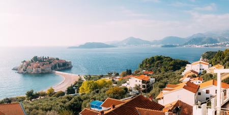 Island of Sveti Stefan in Montenegro. Panoramic shot Stock Photo