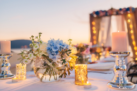 Candles on the wedding table at a banquet in Montenegro.