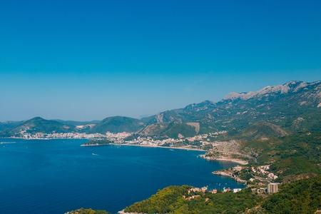 The Budva Riviera in Montenegro. Sea coast of Montenegro. Stock Photo