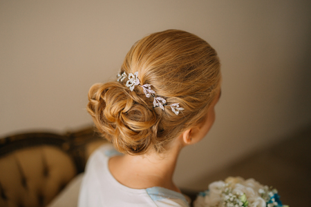 Womans hair, curls close-up. The brides hair.