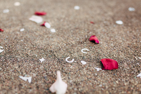 Rose petals on the floor. Wedding tradition of showering newlyweds with rose petals when they come out of the church.