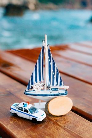 Souvenir shop in Montenegro. Homemade souvenirs. Small marine toys. Stock Photo