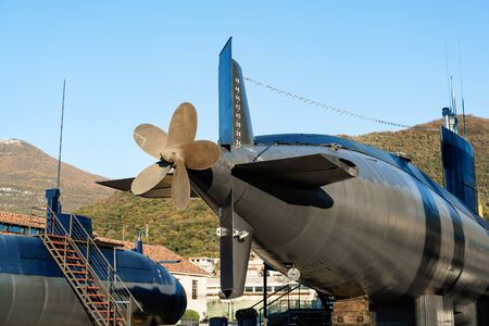 The propeller of the submarine. An old military submarine mounted on land in a museum in Tivat, Montenegro, in the Portro Montenegro area. Stock Photo
