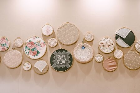 Hoops - a circle for embroidery. Decoration on the wall - rings with embroidery of different diameters and with different fabrics.