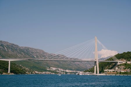 Franjo Tudjman cable-stayed bridge carrying the D8 state road on the western approach to Dubrovnik, Croatia over the Dubrovacka river near the port of Gruzh.