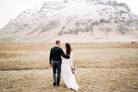 The wedding couple goes into the distance. The groom hugs the bride. Field of dry grass with moss, against the backdrop of a snowy mountain. Destination Iceland wedding.