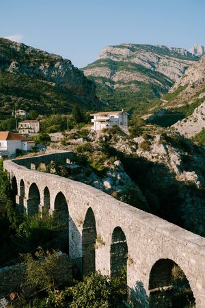 The long seventy-metre aqueduct of the 17th and 18th centuries adjoins the Tatarowitz citadel on the outside of the Old Bar, Montenegro