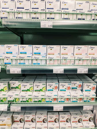 Podgorica, Montenegro - 02 july 2020: DOVE soap on the shelves in the supermarket.