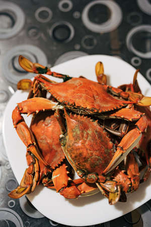 Cooked red boiled blue crabs on a plate on the table. High quality photo