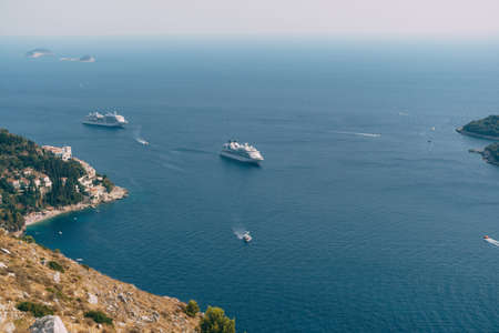 Cruise ships near Old Town Dubrovnik in Croatia.