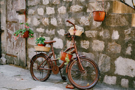 Brown bike with flower stands against the brick wall. Stok Fotoğraf