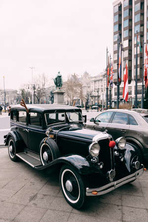 Budapest, Hungary - 02 august 2020: Retro car Chrysler Imperial, 1931, black, similar to Cadillac, Lincoln or Packard.